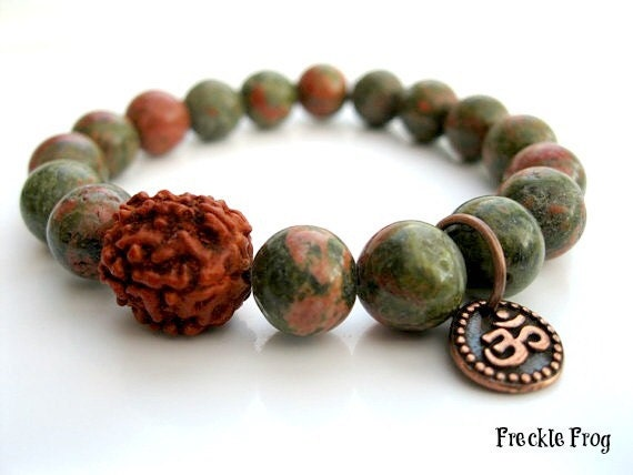 Optimism - Wrist Mala with Unakite & Rudraksha