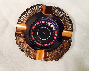 Vintage Souvenir Virginia City Roulette Wheel Ashtray Copper 1960s