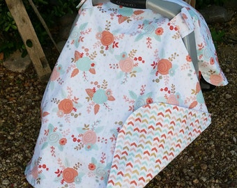 Baby Car Seat Canopy - Baby Car Seat Cover - Floral Car Seat Canopy - Pink Mint Gold Infant Canopy - Baby Shower Gift