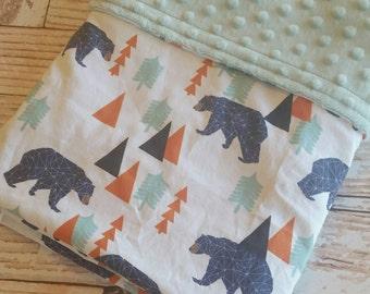 Baby Blanket - Minky Baby Blanket - Bear Baby Blanket - Blue Baby Blanket - Woodland Baby Blanket - Baby Shower Gift