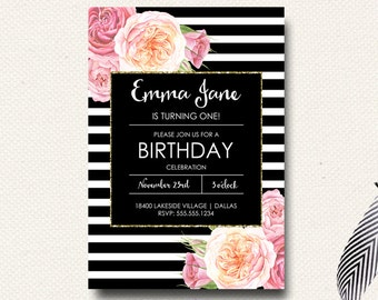 Sixteen Birthday Invitation Girls Flower Boho Black White Stripe Gold Girls Watercolor