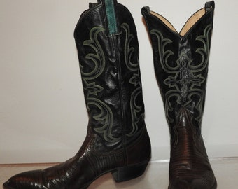 size 8 Larry Mahan vintage cowboy boots green black brown