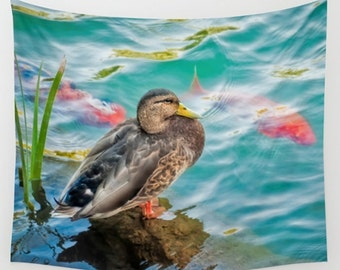 Wall Tapestry Wall Hanging Wall Art Duck Koi Water Pond