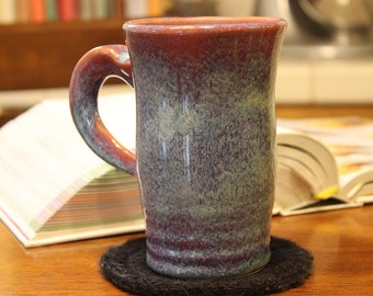 Coffee or Tea Mug in Red and Frosty Blue Cup
