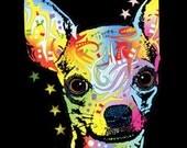 Womans Black Tank Top Chihuahua Dog Print New Neon Blacklight Fluorescent T Shirt 18194NBT4