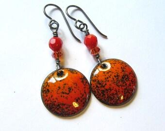 Orange and black dangle earrings Halloween colorful enamel earrings Enameled copper jewelry Artisan bohemian jewelry Disc drop earrings