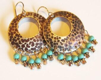 Turquoise chandelier dangle earrings Unique gypsy bohemian jewelry Big boho brass and aqua hoop earrings