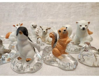 Snow Babies Porcelain with Austrian Crystal Ice Flows, Full Set of 12, Franklin Mint