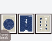 Constellations, Solar System, Moon Phases Map - 3 Art Prints (Featured in Champagne and Navy) Modern Astronomy / Outer Space Art Print