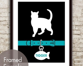 Pampered Paws (Custom Cat Art) Art Print (Featured in Oceanic on Black) Personalized Art Print