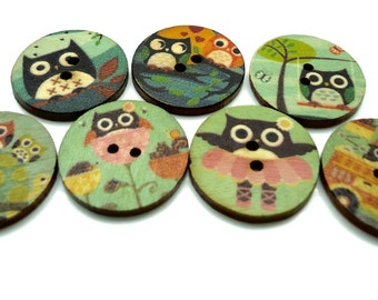 20 x Owl Printed Wooden Buttons - Sewing Buttons - Large Buttons - 25mm