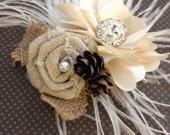 Ivory, winter, Wedding hair accessory, Feather, fascinator, bridal, bridesmaids, comb, pine cone, Peacock, facinator  - BURLAP Ivory ROSE
