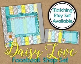 Daisy Love Facebook Timeline Set - Floral Shop Banner - Spring Timeline Cover - Profile Image - Daisy Facebook Shop Set