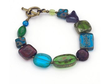 Jewel Tone Czech Glass Bead Bracelet