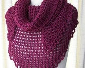 Plum Heather Hand Knit Shawl Triangle Scarf Wrap in WOOL / Gift under 30 dollars / Bridal wrap shawl