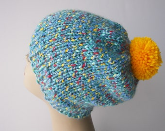 Hand Knit Soft Acrylic Ski Beanie Pom Pom Hat  in Blue / Contrast Knit Pom Pom Beanie Hat