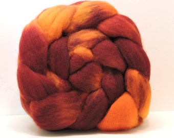 BURN LINES Handpainted BFL Top Spinning Fiber 4 oz