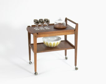 Danish Teak Bar Cart w/ Removable Serving Tray