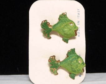 Vintage Fish Scatter Pins - Green Sugar Coated by R. M. Milen Made in Italy - 1950's Era Figurals - Mid Century