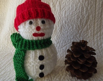 Vintage Handmade Knitted Snowman Shelf Sitter Decoration with Scarf and Hat