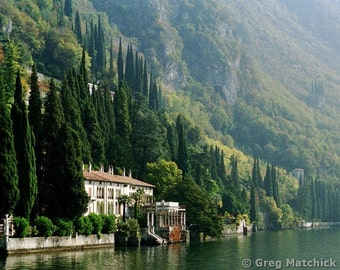 "Fine Art Color Landscape Photography of Lake Como Scene - ""View of Villa Monastero"" (Italy)"