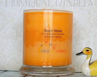 Beach Wood Scented Vegan Soy Wax Candle, 12 oz. status jar candle, Beachy Candle, Orange Candle Soy Wax Glass Jar Candle