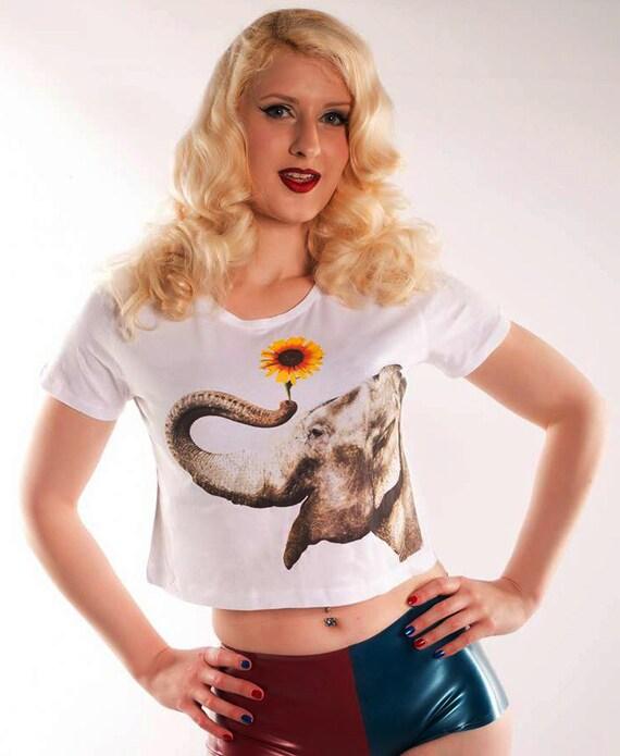 Elephant & Sunflower Print Ladies White Cropped Tshirt, Sizes S. M. L.