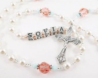 Personalized Swarovski Rosary Beads in Coral and Mint for Catholic Baptism or First Communion - Girl Rosary Gift