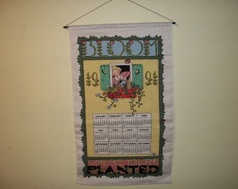 Vintage Retro Calendar Wall Hanging Towel Wood Dowel 1991