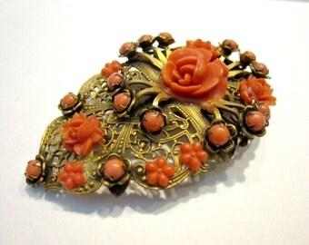 """Vintage Flower Fur Clip Large Coral Bead Ornate Brass 2 3/4"""" Antique Jewelry Clip Art Deco Nouveau Era Large Clip Collectible"""