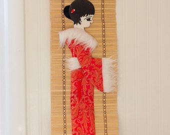 Vintage Geisha Girl, Geisha Girl Banner, Geisha Wall Hanging, Red White Tan, Vintage Asian Decor, Japanese Style Decor, Geisha Doll Art