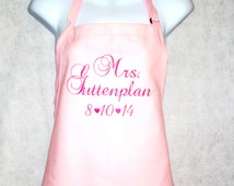 Embroidered Mrs. Custom Bride Apron, With Wedding Date Married, Monogrammed Name, Personalized Apron, Ready To Ship TODAY, AGFT 068