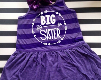 Big sister tank dress girls big sister shirt pregnancy announcement shirt big sister announcement shirt tank top Arrow top DRESS ONLY
