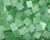 """100 1/2"""" Tumbled Green and White Stained Glass Mosaic Tiles"""