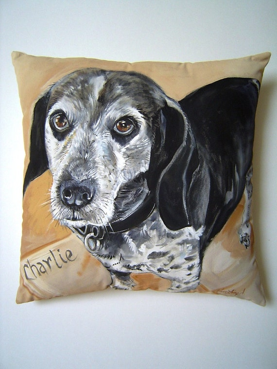 Custom DOG Pet Portrait Pillow - SAMPLE Do Not Purchase - Hand Painted Personalized Pet Memorial ART Gift