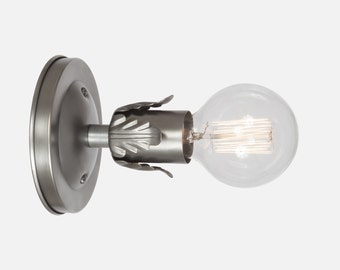 Vintage Silver Wall Sconce Light - Industrial Wall Sconce Lighting - Hardwire or Plug In Wall Sconce - Flush Mount Bathroom Light