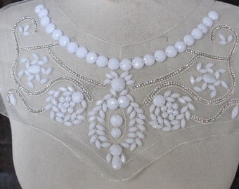 Cute  embroidered and  beaded    applique   1   pieces listing white  color