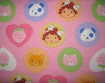 17X42 Baby STRAWBERRY SHORTCAKE Cotton FLANNEL Fabric Pink Hearts Circles Pupcake Custard