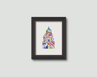 masjid mosque watercolor LOVE print 6x8