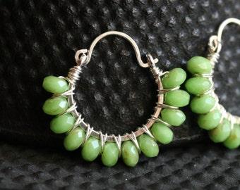 Apple green beaded hoop earrings, Czech glass, lime green, sterling silver, wire wrapped, Mimi Michele Jewelry