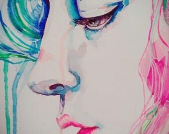 SHY original watercolor painting 28cm x 22cm artwork
