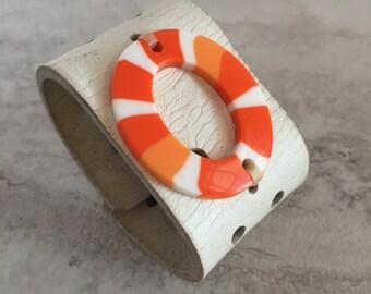 Handmade Women's White and Orange Leather Cuff