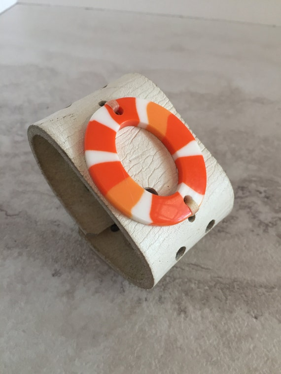 Handmade Women's White and Orange Leather Cuff