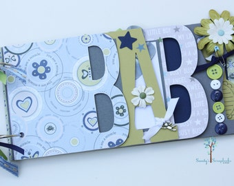 Baby boy scrapbook album, Baby shower gift, Baby shower guestbook, Premade scrapbook for baby boy- BB32