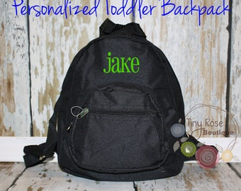 Toddler Boy Black Backpack - Personalized School Bag, Book Bag, Mini Backpack