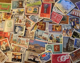 50 Beautiful Large Vintage, Commemorative, Postage Stamps, for crafts, collage, cards, collages, scrapbooks, decoupage, commemorative 3A