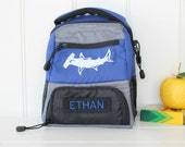 Lunchbox With Monogram Upcycled Pottery Barn -- Blue Colton With Shark Patch
