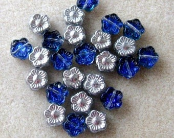 Czech Glass Flower Beads, Pansy Flowers, Pressed Glass, Carved Flower, Loose Lot of Beads, Sapphire Blue,  Bead Supply, Craft Supplies, (25)