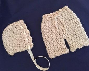 Crochet Baby Bonnet, Diaper Cover Set, Newborn Girl, Photo Prop, Neutral Newborn Crochet Outfit Set, Infant Photo Props, Newborn Girl Outfit