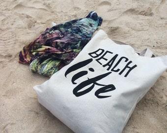 Beach Life Tote Bag, Beach Bag, Tote, Made in Canada, London Ontario, Screen Printed